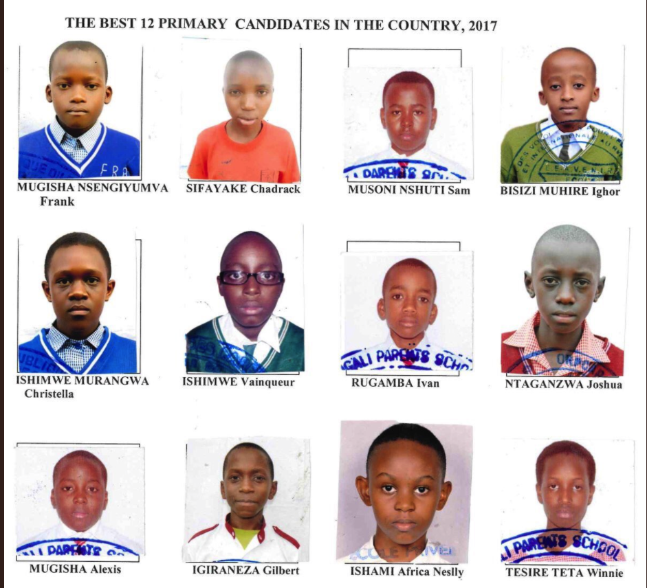 Children who were the best in the rwandan primary final exams